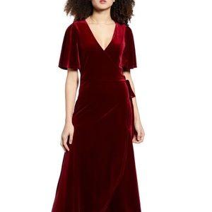 Velour Maxi Wrap Dress